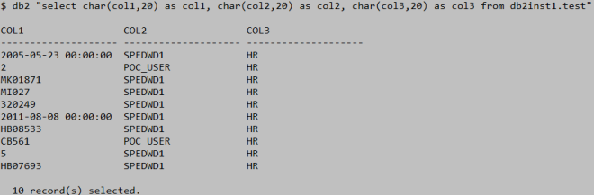 Using awk to format output from select statement in DB2 on